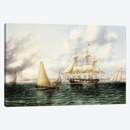 New York Harbour, Canvas Print #BMN11942} by James E. Buttersworth Canvas Art Print
