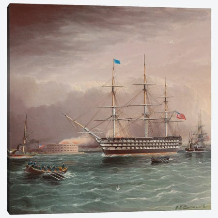 The U.S.S. Pennsylvania Under Tow At The Outbreak Of The American Civil War With Fort Monroe In The Background Canvas Print #BMN11946} by James E. Buttersworth Canvas Art