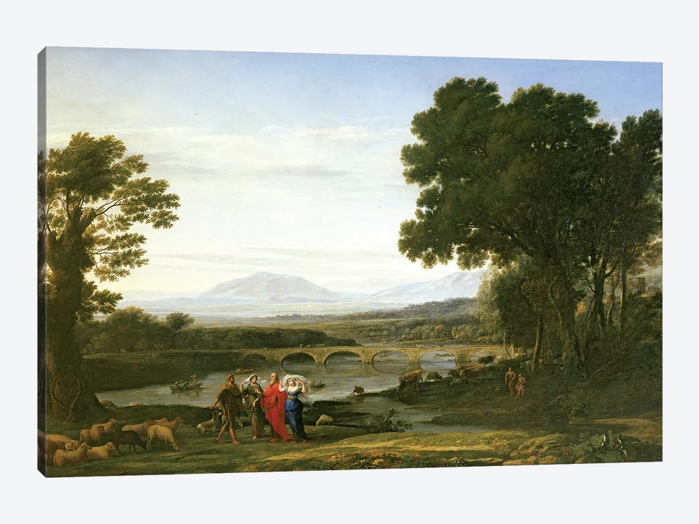 Landscape with Jacob and Laban and Laban's Daughters, 1654 by Claude Lorrain 1-piece Canvas Print
