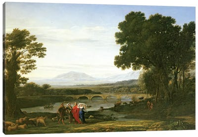 Landscape with Jacob and Laban and Laban's Daughters, 1654 Canvas Art Print