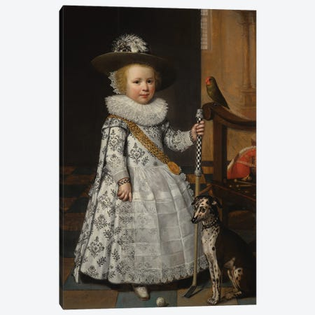 Portrait Of A Young Boy With A Golf Club And Ball Canvas Print #BMN11950} by Jan Anthonisz Van Ravesteyn Canvas Artwork