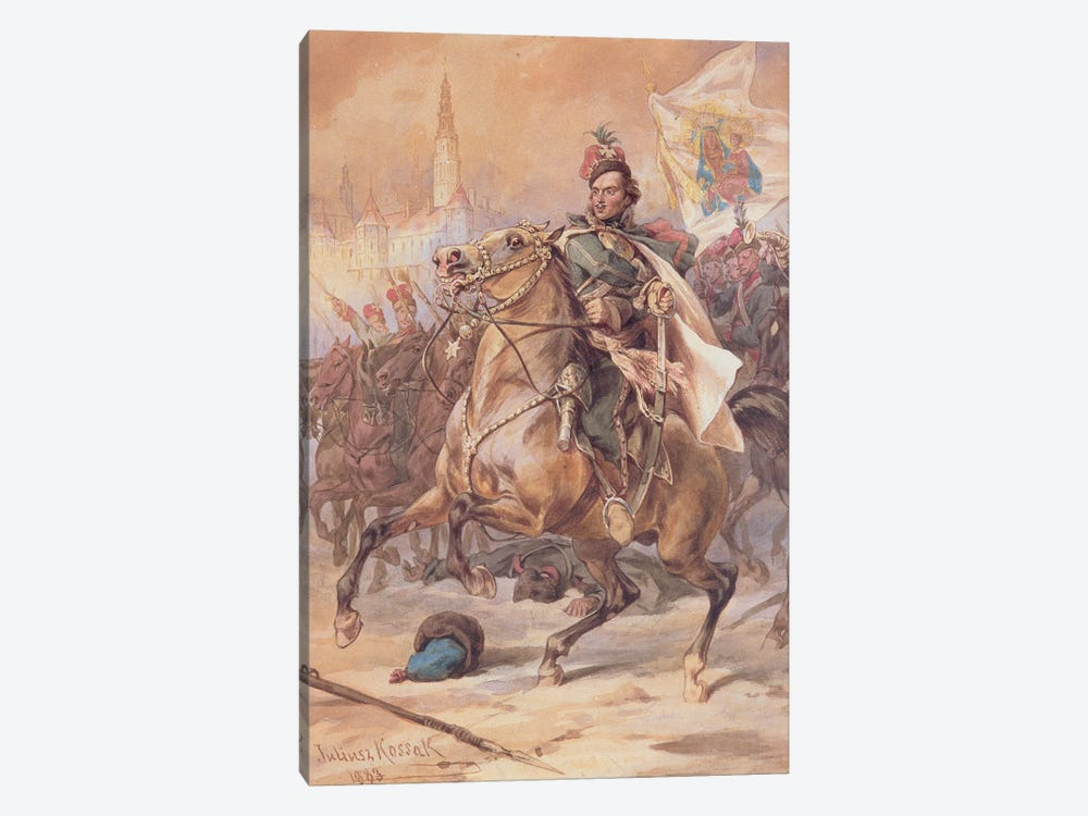 Kazimierz Pulawski At The Battle Of Czestochowa, December 1770, 1883 by Juliusz Fortunat Kossak 1-piece Canvas Art Print