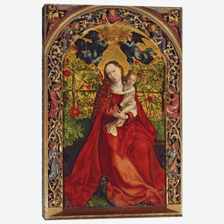 Madonna Of The Rose Bower, 1473 Canvas Print #BMN11983} by Martin Schongauer Canvas Print