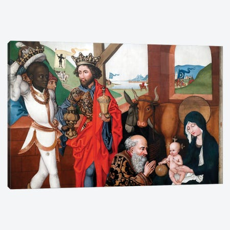 Nativity, Adoration Of The Child Jesus By The Three Wise Men Or Magi Canvas Print #BMN11986} by Martin Schongauer Canvas Artwork