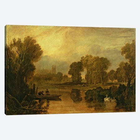 Eton College from the River, or The Thames at Eton, c.1808 Canvas Print #BMN1199} by J.M.W. Turner Canvas Artwork