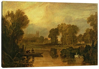 Eton College from the River, or The Thames at Eton, c.1808 Canvas Art Print
