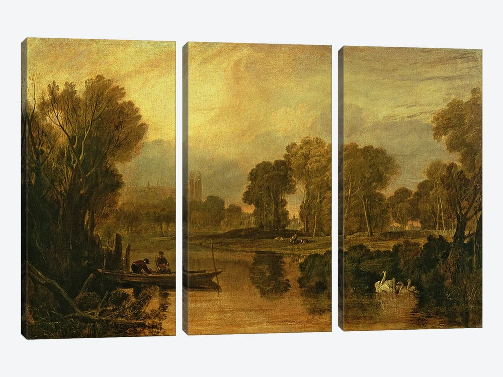 Eton College from the River, or The Thames at Eton, c.1808 by J.M.W Turner 3-piece Canvas Art