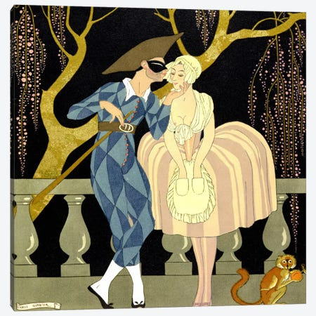 Harlequin's Kiss (w/c on paper) Canvas Print #BMN11} by Georges Barbier Art Print