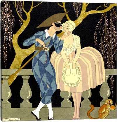 Harlequin's Kiss (w/c on paper) Canvas Art Print