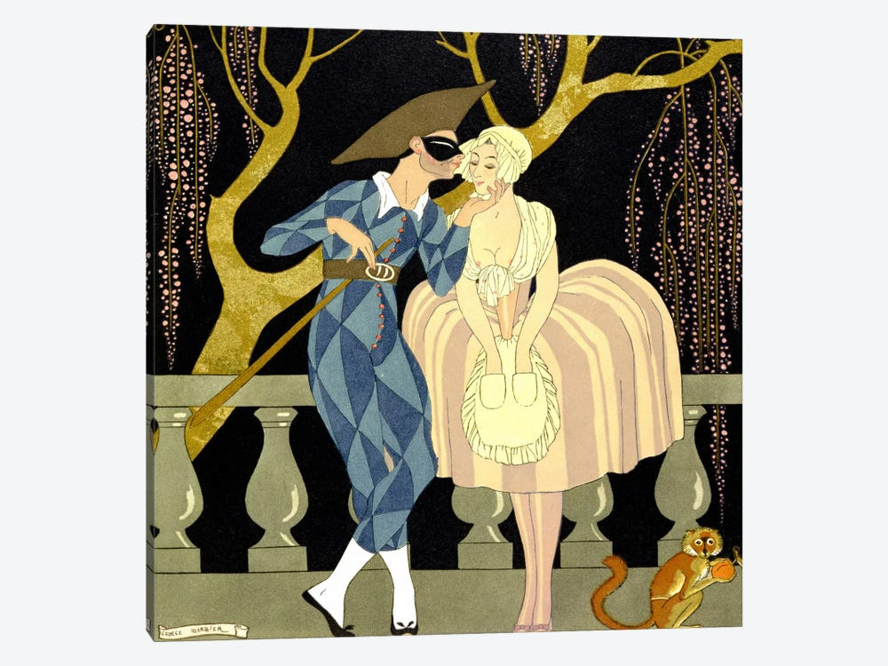 Harlequin's Kiss (w/c on paper) by Georges Barbier 1-piece Canvas Art