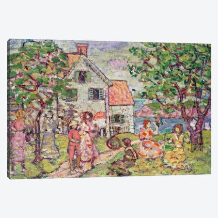 Beach And Two Houses, 1916-18 Canvas Print #BMN12003} by Maurice Brazil Prendergast Canvas Wall Art
