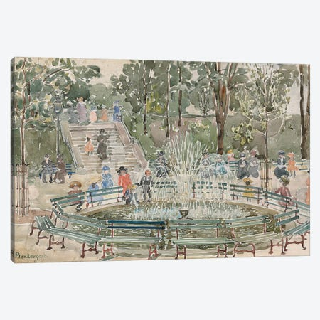 Fountain, Central Park Canvas Print #BMN12012} by Maurice Brazil Prendergast Canvas Art Print