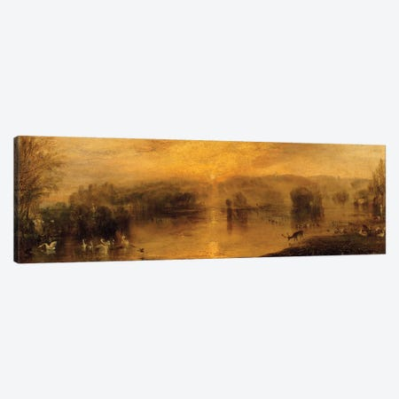 The Lake, Petworth: Sunset, a Stag Drinking, c.1829 Canvas Print #BMN1201} by J.M.W. Turner Canvas Artwork