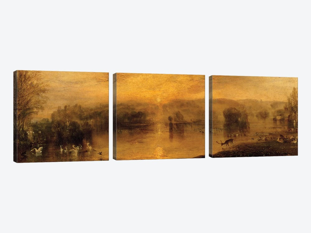 The Lake, Petworth: Sunset, a Stag Drinking, c.1829 by J.M.W. Turner 3-piece Canvas Print