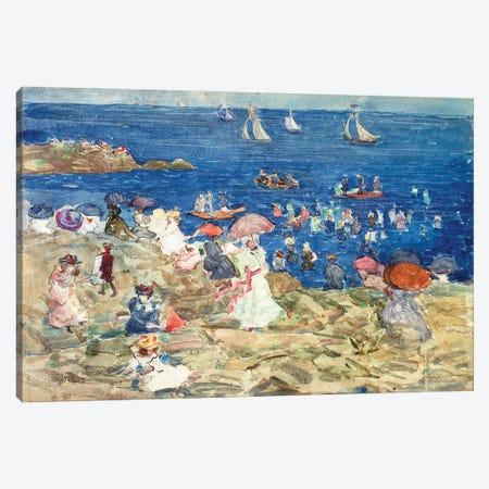 New England Beach Scene, C.1896-97 Canvas Print #BMN12021} by Maurice Brazil Prendergast Canvas Artwork
