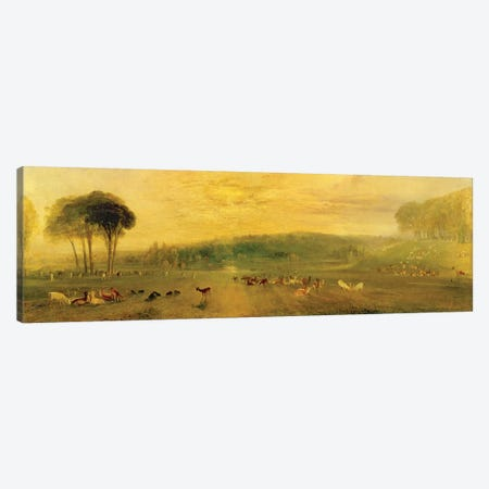 The Lake, Petworth: Sunset, Fighting Bucks, c.1829 Canvas Print #BMN1202} by J.M.W. Turner Canvas Art