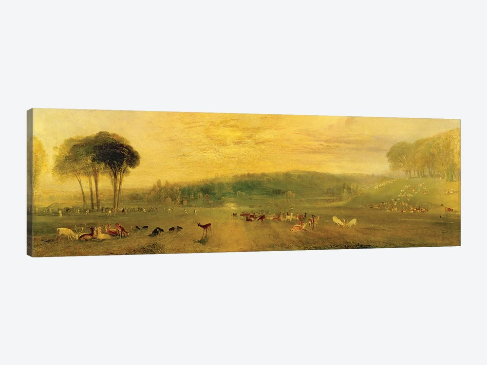 The Lake, Petworth: Sunset, Fighting Bucks, c.1829 by J.M.W. Turner 1-piece Canvas Artwork