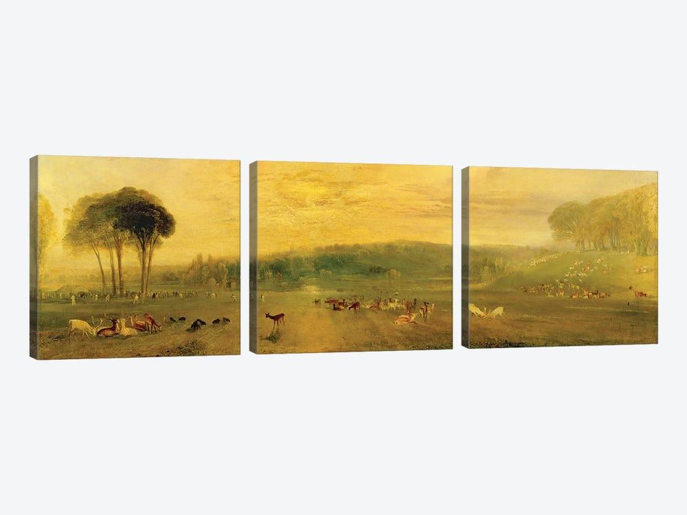 The Lake, Petworth: Sunset, Fighting Bucks, c.1829 by J.M.W. Turner 3-piece Canvas Artwork