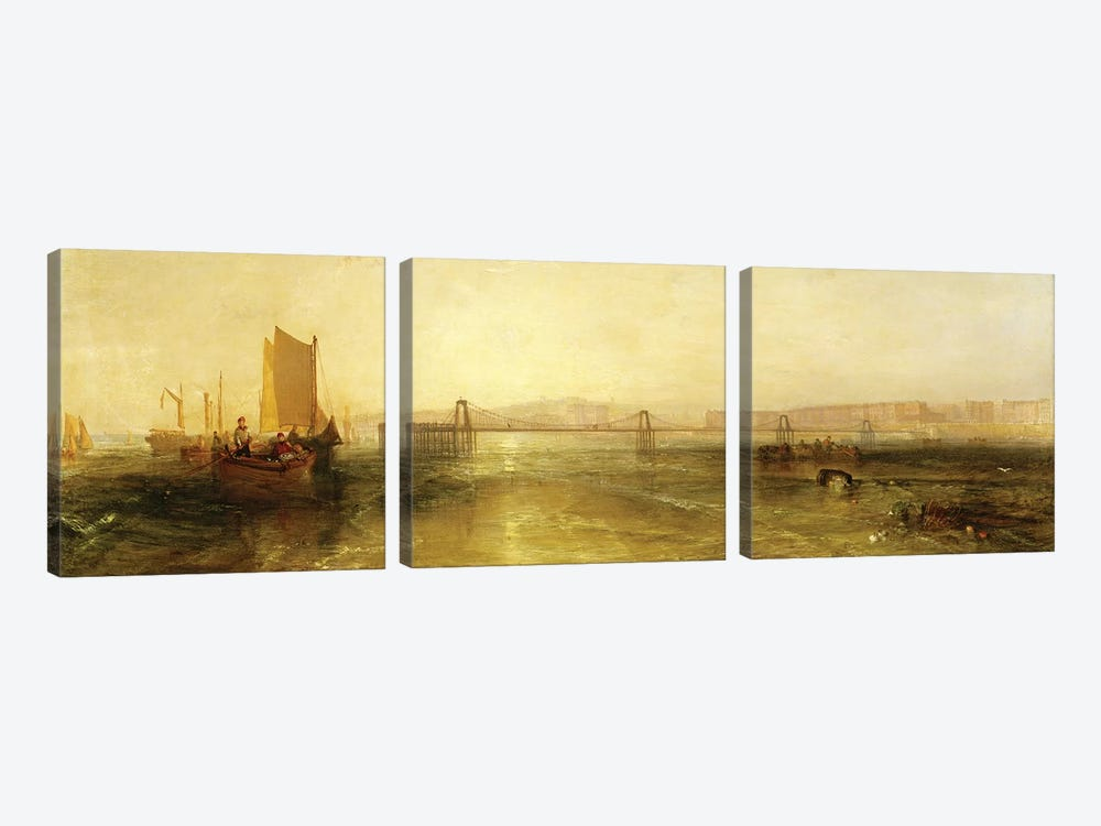 Brighton from the Sea, c.1829 by J.M.W. Turner 3-piece Canvas Print