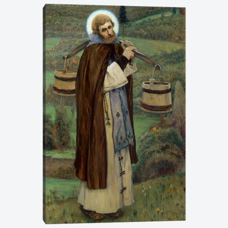 Saint Sergius' Labours By Nesterov, Mikhail Vasilyevich Canvas Print #BMN12068} by Mikhail Vasilievich Nesterov Canvas Wall Art
