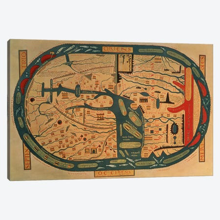 Copy of an 8th century Beatus mappamundi  Canvas Print #BMN1206} by Unknown Artist Art Print