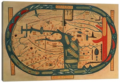 Copy of an 8th century Beatus mappamundi  Canvas Art Print