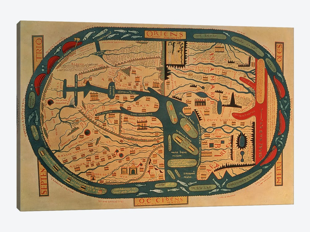 Copy of an 8th century Beatus mappamundi  by Unknown Artist 1-piece Canvas Art