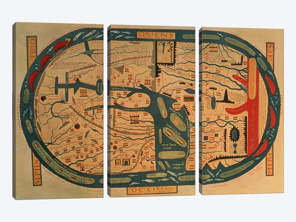 Copy of an 8th century Beatus mappamundi  by Unknown Artist 3-piece Canvas Wall Art