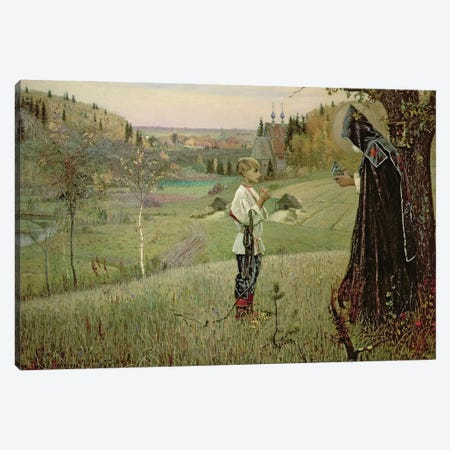 The Vision Of The Young Bartholomew, 1889-90 Canvas Print #BMN12073} by Mikhail Vasilievich Nesterov Art Print