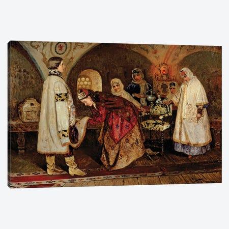 Tsar Alexei Mikhailovich Meeting His Bride, Maria Miloslavasky, 1887 Canvas Print #BMN12074} by Mikhail Vasilievich Nesterov Canvas Wall Art