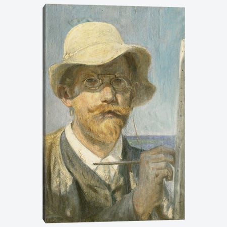 A Self-Portrait Of The Artist, Head And Shoulders At His Easel, Canvas Print #BMN12083} by Peder Severin Kroyer Canvas Wall Art
