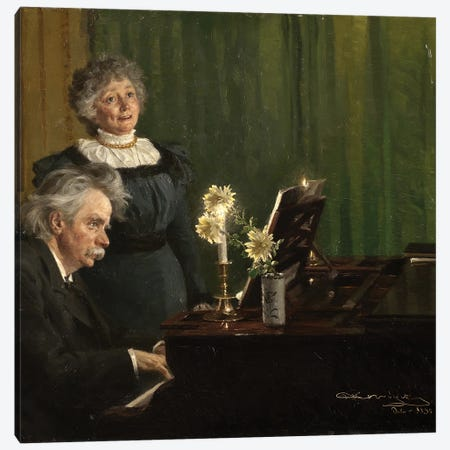 Edvard Grieg And Nina Grieg, 1898 Canvas Print #BMN12084} by Peder Severin Kroyer Art Print
