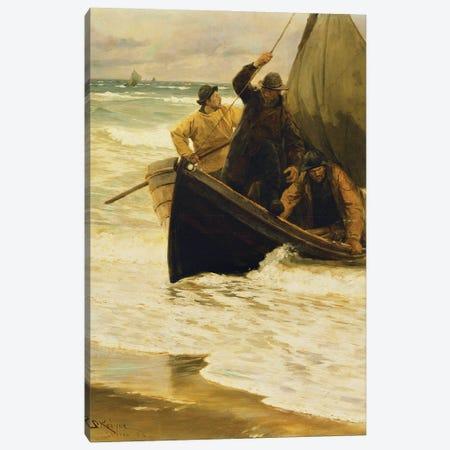 Fisherman Returning Home, Skagen, 1885 Canvas Print #BMN12085} by Peder Severin Kroyer Art Print