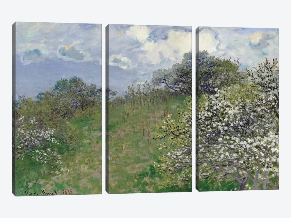 Spring, 1875 by Claude Monet 3-piece Canvas Wall Art