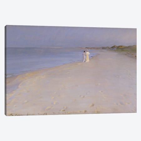 Summer Evening At The South Beach, Skagen, 1893 Canvas Print #BMN12096} by Peder Severin Kroyer Canvas Art