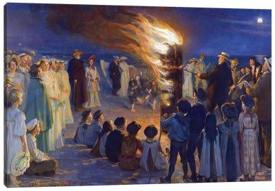 Midsummer's Eve Bonfire On Skagen's Beach Canvas Art Print