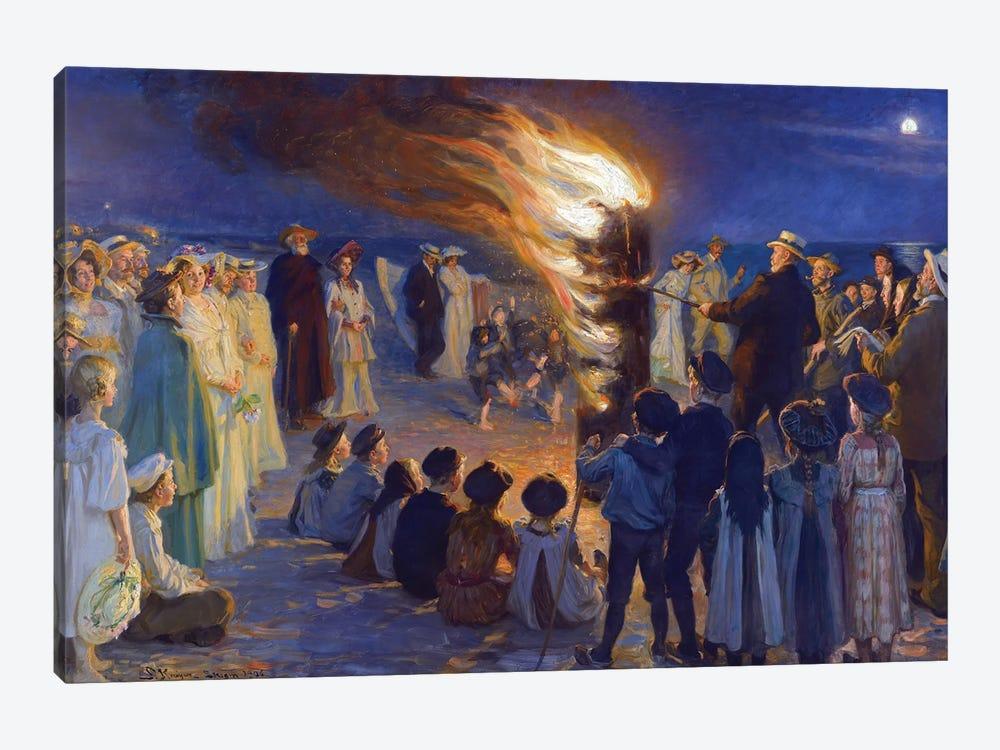 Midsummer's Eve Bonfire On Skagen's Beach by Peder Severin Kroyer 1-piece Canvas Art