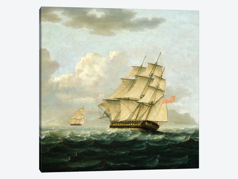 A British Frigate In Pursuit Of A French Frigate by Thomas Buttersworth 1-piece Canvas Art