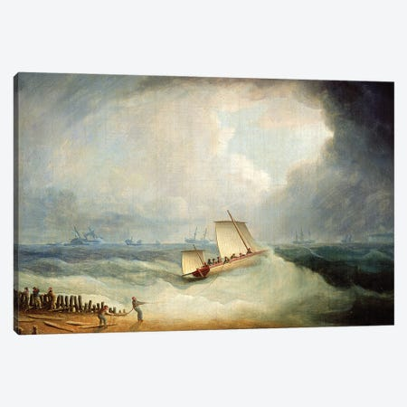 A Deal Lugger Going Off To A Storm-Bound Ship In The Downs, South Foreland Canvas Print #BMN12113} by Thomas Buttersworth Canvas Wall Art