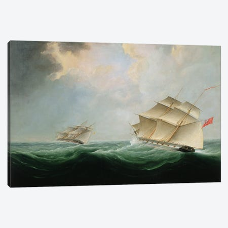 A Naval Brig Pursuing Another Brig Canvas Print #BMN12114} by Thomas Buttersworth Canvas Print