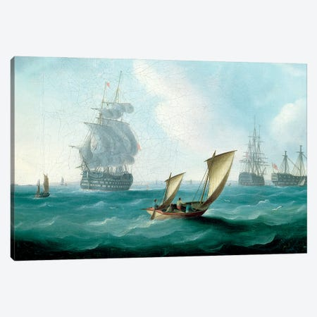 British Men-O'-War And A Hulk In A Swell, A Sailing Boat In The Foreground Canvas Print #BMN12117} by Thomas Buttersworth Canvas Print