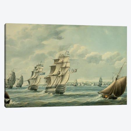 British Ships Blocking Cadiz In 1797, 1797 Canvas Print #BMN12118} by Thomas Buttersworth Canvas Artwork