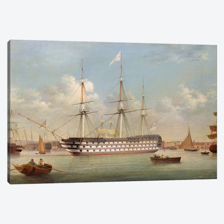 H.M.S. Britannia Lying Off Plymouth Canvas Print #BMN12120} by Thomas Buttersworth Canvas Art Print