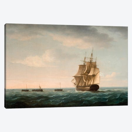 Rescue Of The Guardian's Crew By A French Merchant Ship, 2Nd January 1790 Canvas Print #BMN12124} by Thomas Buttersworth Canvas Wall Art