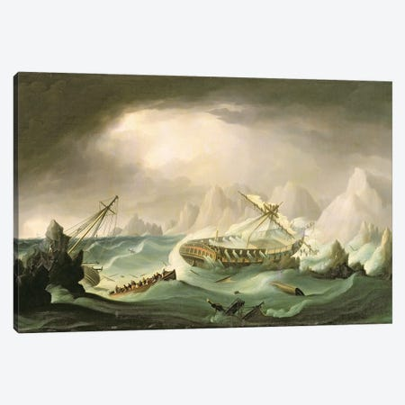 Shipwreck Off A Rocky Coast Canvas Print #BMN12125} by Thomas Buttersworth Canvas Artwork