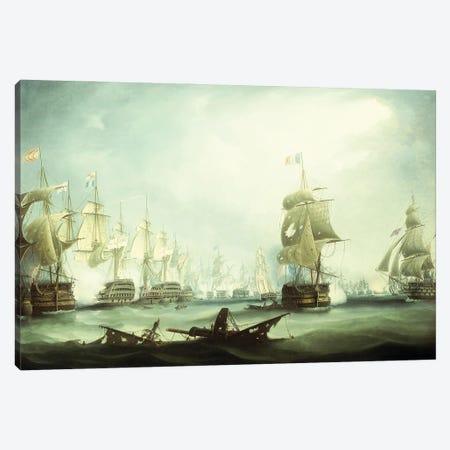 The Battle Of Trafalgar, 1805, Canvas Print #BMN12128} by Thomas Buttersworth Art Print