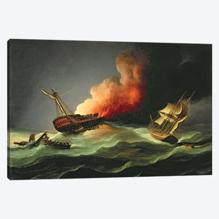 The East Indiaman Kent On Fire In The Bay Of Biscay Canvas Print #BMN12130} by Thomas Buttersworth Canvas Art
