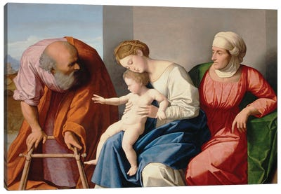 Holy Family With Saint Anne, C.1520 Canvas Art Print