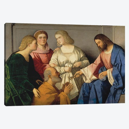 Christ Giving The Keys To Saint Peter, C. 1520 Canvas Print #BMN12134} by Vincenzo Di Biagio Catena Canvas Print