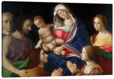 Madonna With Child And Saints Canvas Art Print